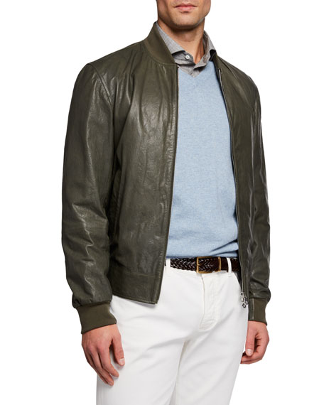 Brunello Cucinelli Men's Full-Zip Bomber Jacket