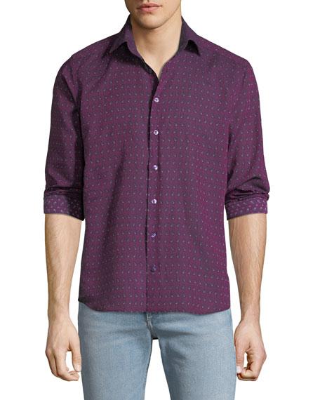 Etro Men's Contrast Floral Sport Shirt