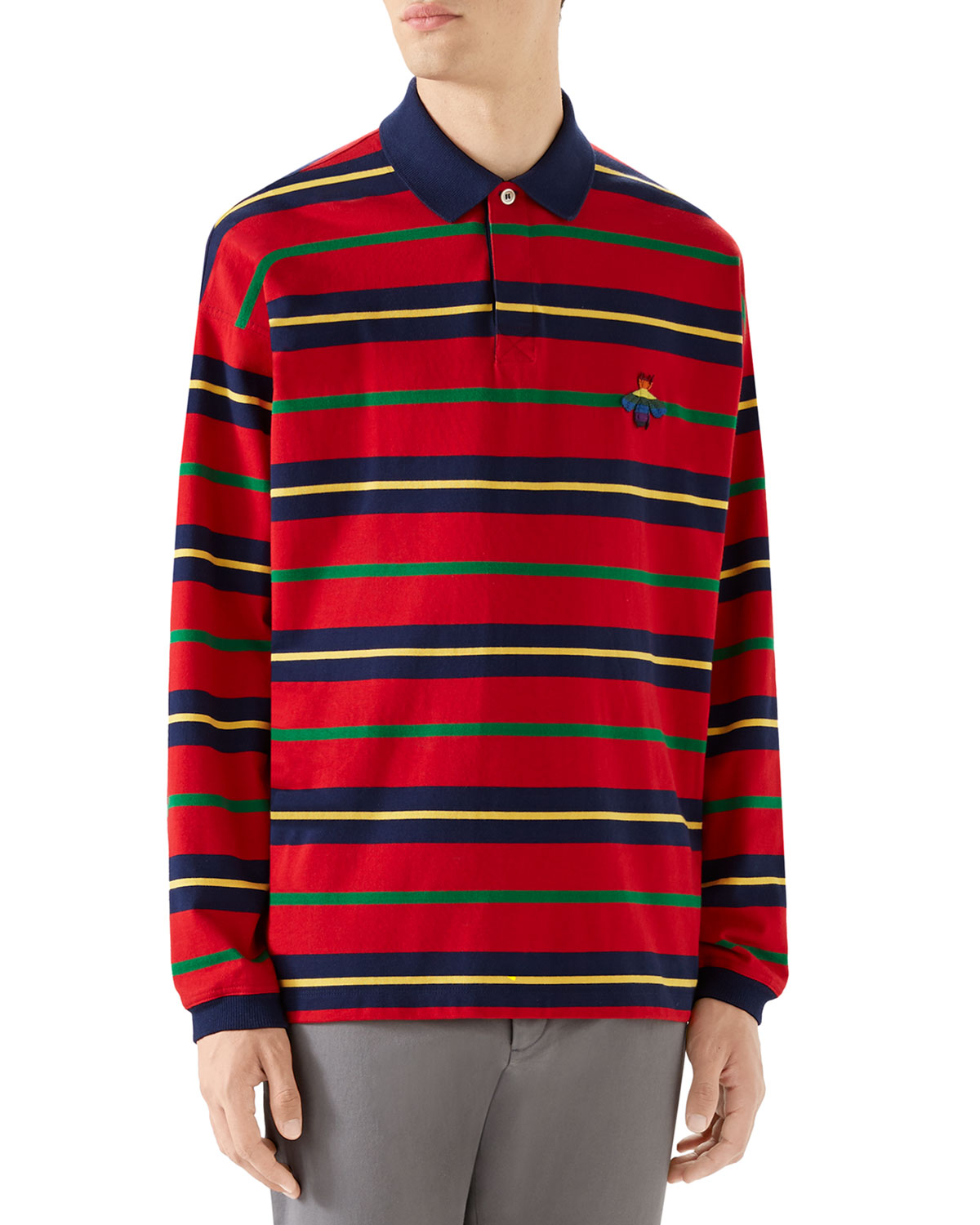 69c63ac0a Gucci Men's Long-Sleeve Rugby-Striped Polo Shirt | Neiman Marcus