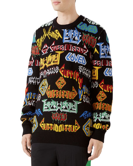 Gucci Men's Medley Logo Intarsia-Knit Sweater