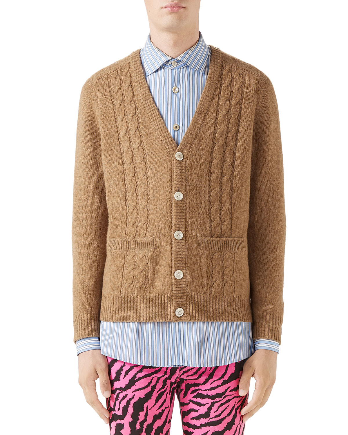 ac63360af58 Gucci Men's Cable-Knit Wool Cardigan | Neiman Marcus