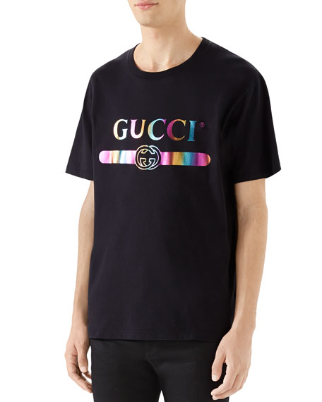 Gucci Men's Metallic Rainbow Logo Graphic T-Shirt