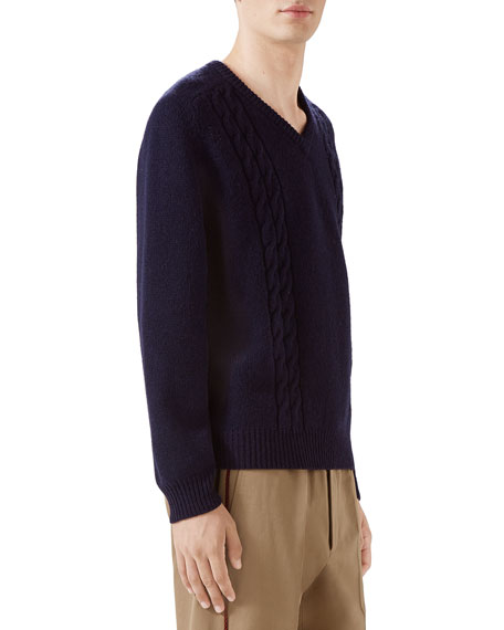 Gucci Men's Cashmere Cable-Knit Sweater