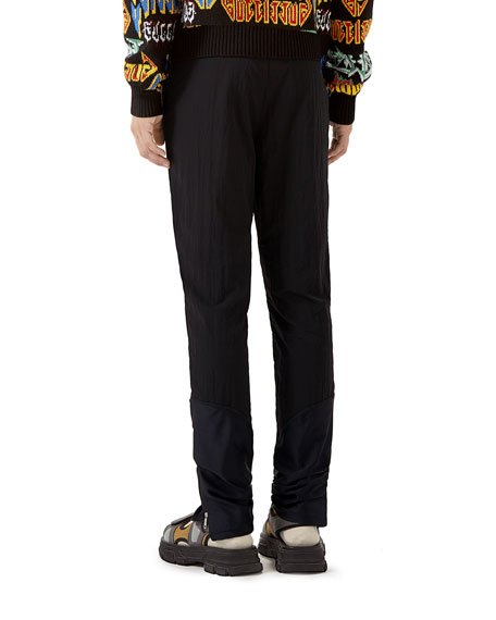 Gucci Men's Web-Stripe Nylon Track Pants