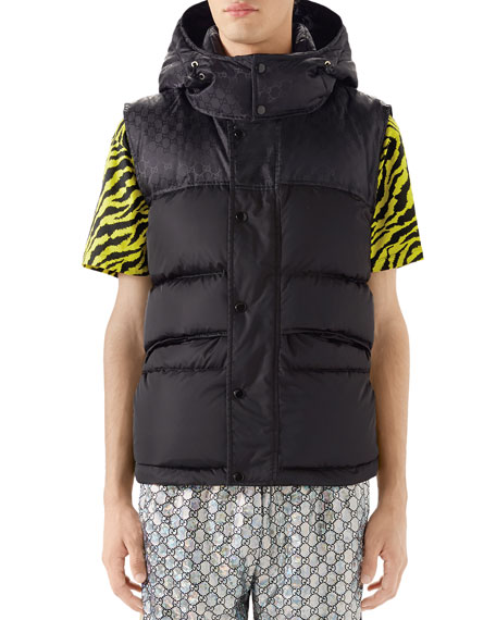Gucci Men's Interlocking-GG Hooded Puffer Vest