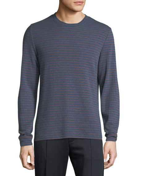Vince Men's Double Knit Striped Crew Shirt