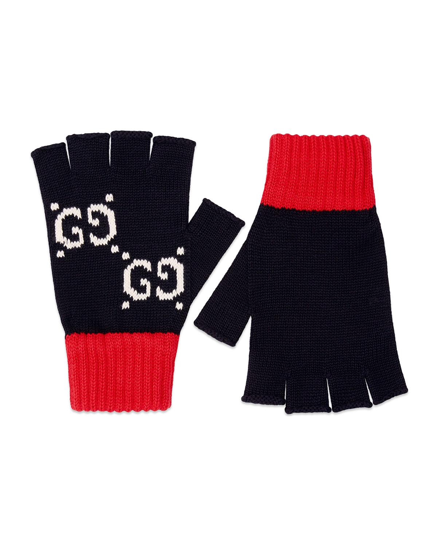 4da8e5284de46 Gucci Men's Interlocking G & Stripe Knit Fingerless Gloves | Neiman ...