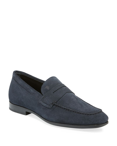 Men's Moccasino Suede Penny Loafers  Blue