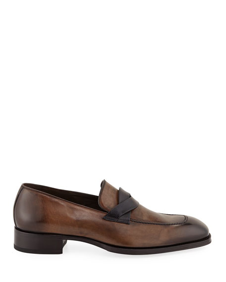 TOM FORD Men's Two-Tone Leather Twist-Top Loafers
