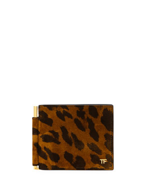 TOM FORD Men's Leather Bi-Fold Leopard-Print Wallet w/ Money Clip