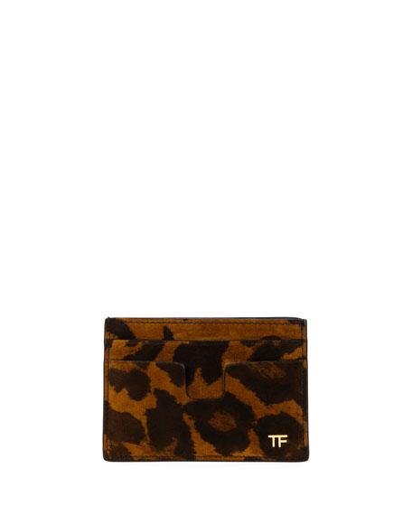 TOM FORD Men's Leopard-Print Leather Card Holder