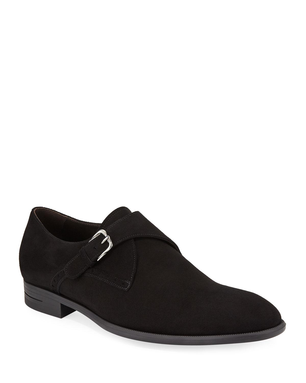 Ermenegildo Zegna Men S New Flex Suede Monk Strap Shoes Neiman Marcus