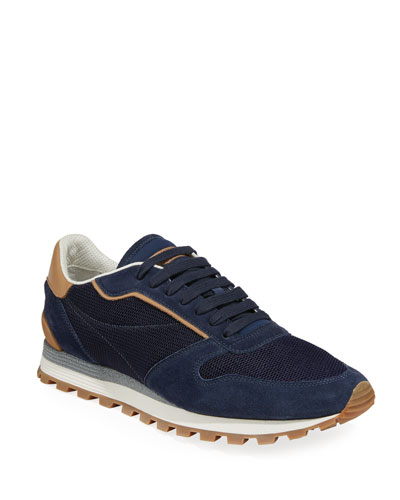 Men's Suede and Mesh Runner Sneakers