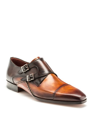 Magnanni Men s Ondara Double-Monk Two-Tone Leather Shoes a098f0b89bde