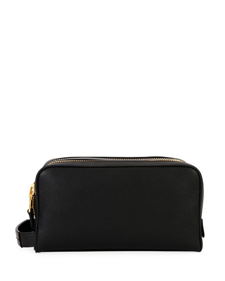 TOM FORD Men's Double-Zip Leather Toiletry Bag
