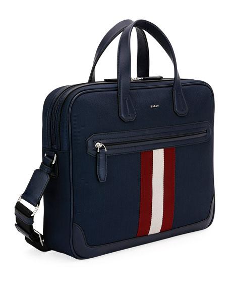 Bally Chandos Leather-Trim Briefcase, Dark Blue