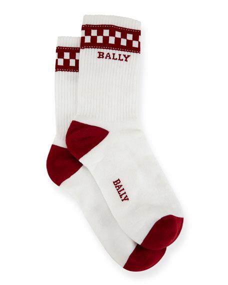 Bally Men's Logo-Pattern Tube Socks, White/Red