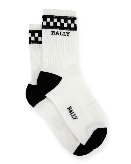 Bally Men's Logo-Pattern Tube Socks, White/Black
