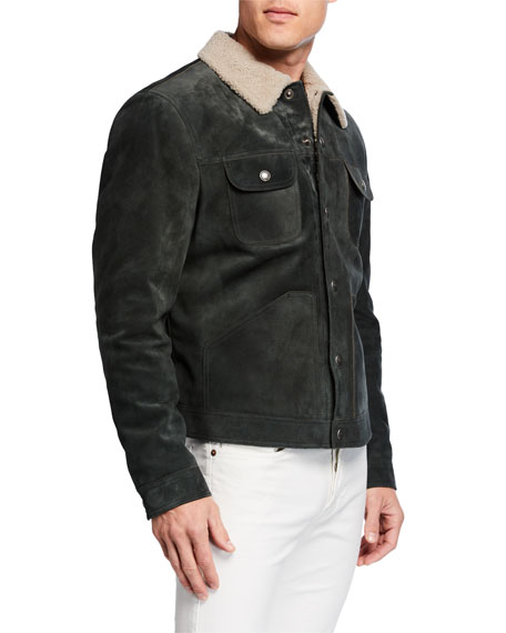TOM FORD Men's Suede Shearling-Collar Trucker Jacket