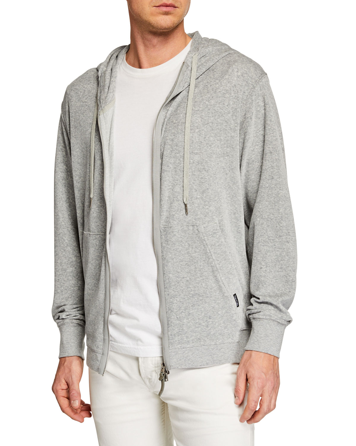 934f2fd0e8c76 TOM FORD Men's Heathered Velour Zip-Front Hoodie | Neiman Marcus
