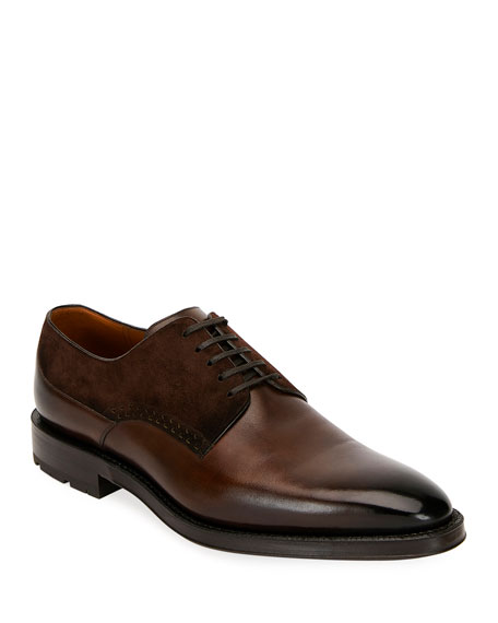 Bally Men's Badux Injected Leather Lace-Up Derby Shoes