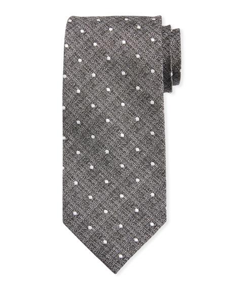 TOM FORD Mini Polka-Dot Silk Tie, Gray