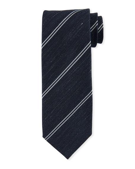 TOM FORD Striped Silk-Linen Tie, Blue