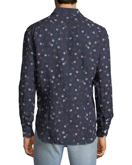 Culturata Men's Extra-Soft Floral Linen Shirt