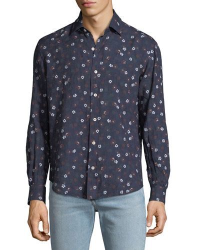 Men's Extra-Soft Floral Linen Shirt