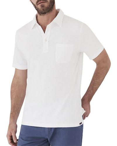 Men's Sunwashed Short-Sleeve Polo Shirt with Pocket  White