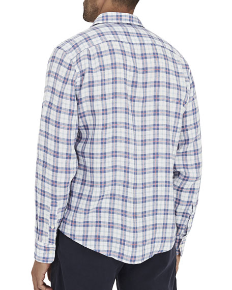 Faherty Men's Ventura Box-Plaid Linen Sport Shirt with Pocket