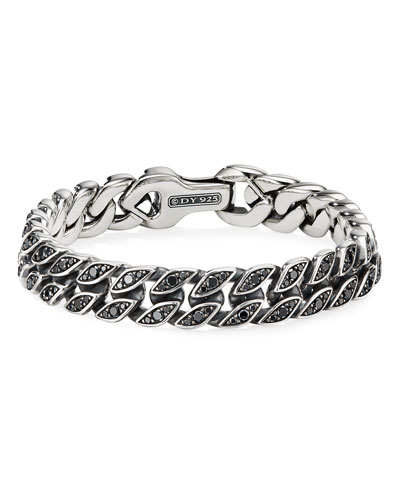 Men's 11.5mm Silver Curb Chain Bracelet with Black Diamonds  Size M