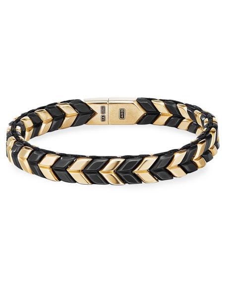David Yurman Men's 9mm Chevron Bracelet in 18k Gold and Titanium