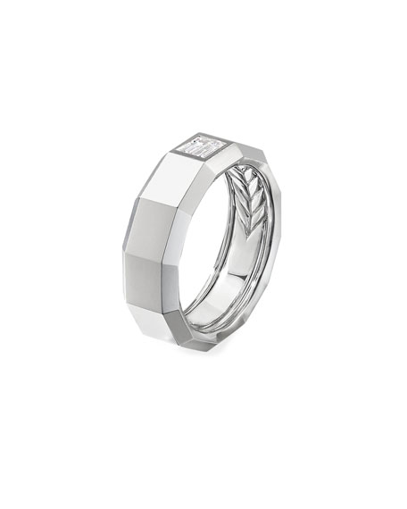 David Yurman Men's 18k White Gold 10mm Faceted Band Ring with Diamonds