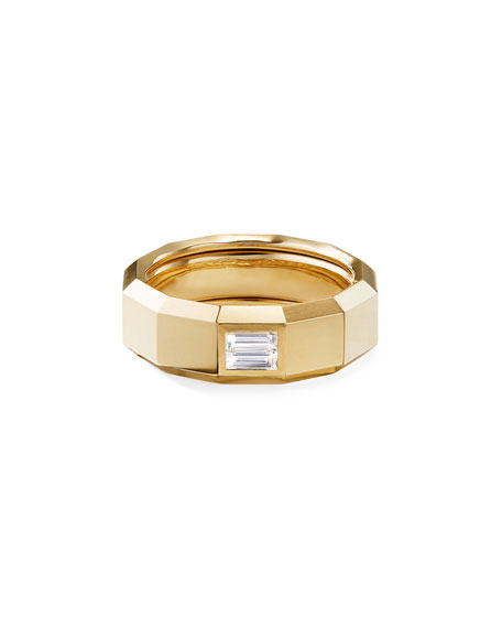 David Yurman Men's 18k Gold 8mm Faceted Band Ring with Diamonds