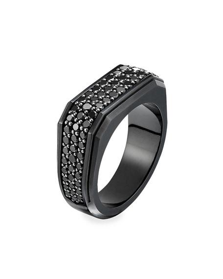 David Yurman Men's Pave Diamond Wide Roman Signet Ring