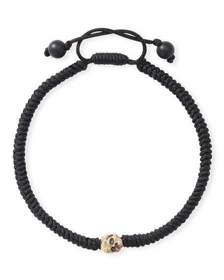David Yurman Men's 18k Skull-Beaded Woven Bracelet