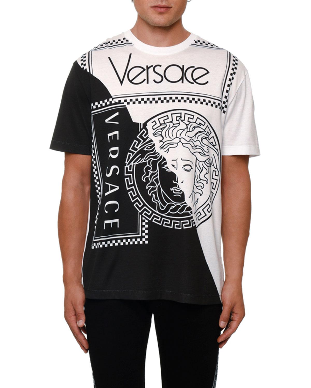 9a7c026a Versace Men's Colorblock Medusa Logo Graphic T-Shirt   Neiman Marcus