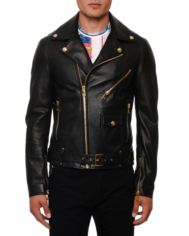 a46cc4027e Versace Men's Leather Biker Jacket | Neiman Marcus