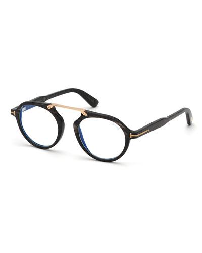 Men's Tom N.15 Shiny Horn Round Blue-Blocking Glasses