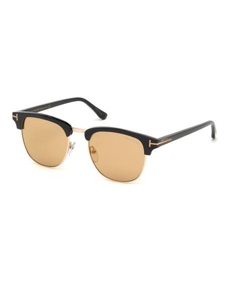 TOM FORD Men's Tom N.17 Half-Rim Horn Sunglasses with Photochromic Flash Lenses