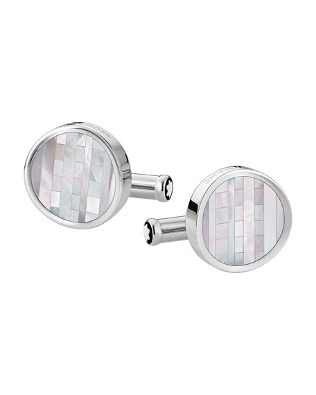 Montblanc Stainless Steel Cufflinks w/ Ornamental Inlay