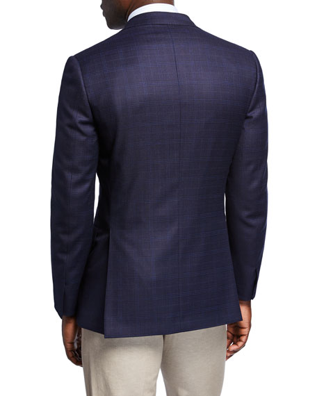 Image 2 of 3: Brioni Men's Plaid Wool-Silk Two-Button Jacket