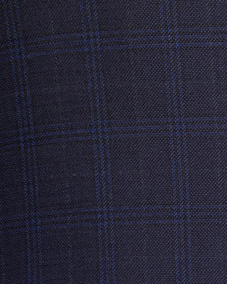 Image 3 of 3: Brioni Men's Plaid Wool-Silk Two-Button Jacket