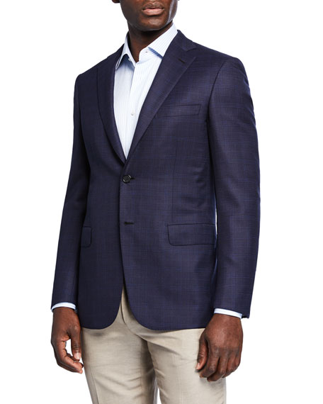 Image 1 of 3: Brioni Men's Plaid Wool-Silk Two-Button Jacket
