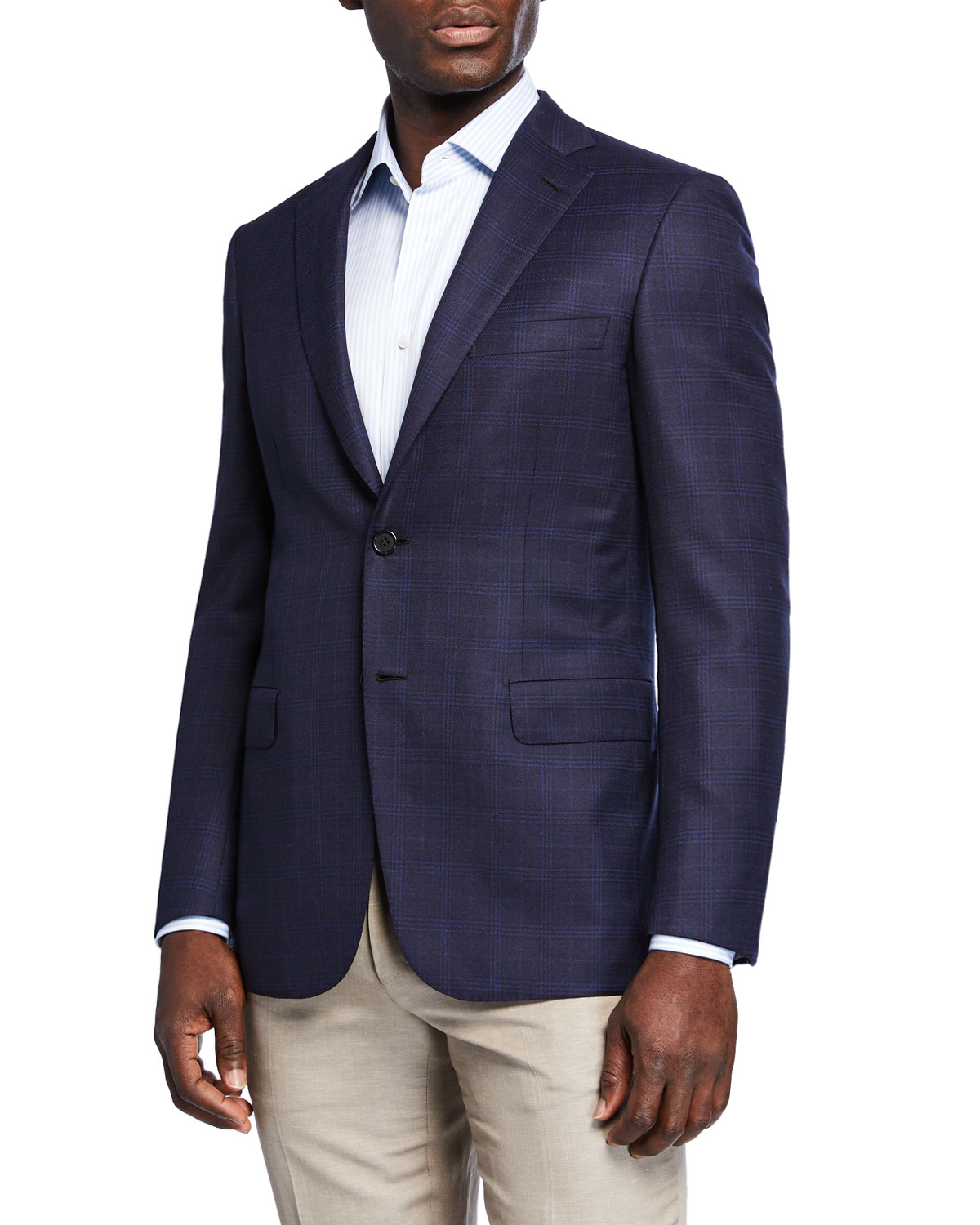 Brioni Men's Plaid Wool-Silk Two-Button Jacket