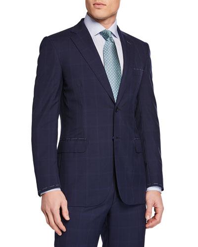 Men's Tonal Windowpane Two-Piece Suit