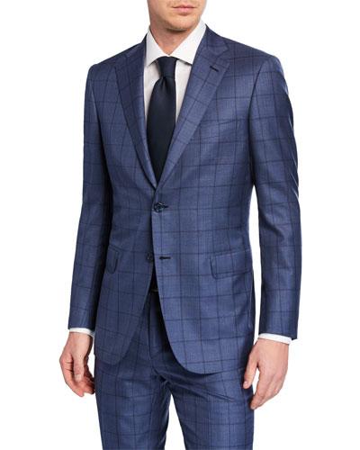 Men's Windowpane Wool-Silk Two-Piece Suit
