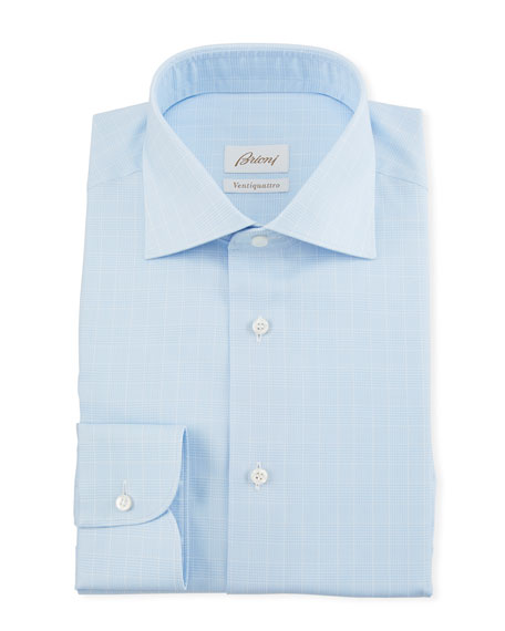 Image 1 of 2: Brioni Men's Prince of Wales Dress Shirt