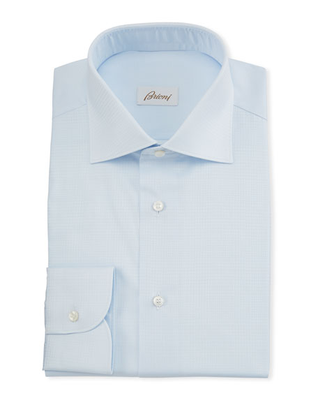 Image 1 of 2: Brioni Men's Plaid Jacquard Dress Shirt